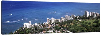 Aerial view of a city at waterfront, Honolulu, Oahu, Honolulu County, Hawaii, USA 2010 Canvas Art Print