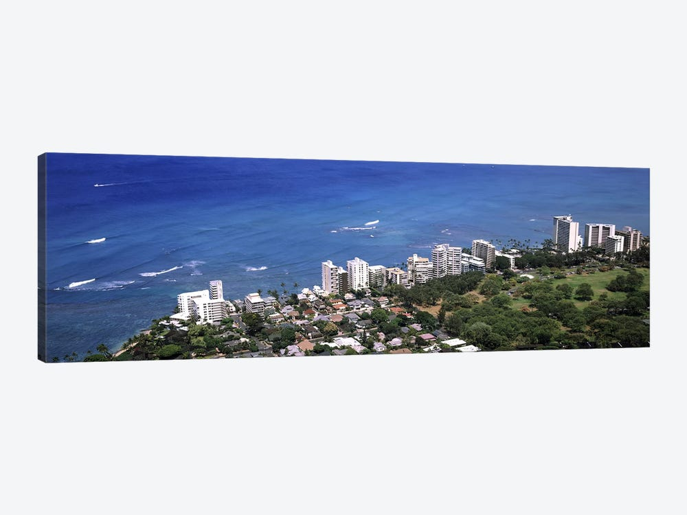 Aerial view of a city at waterfront, Honolulu, Oahu, Honolulu County, Hawaii, USA 2010 by Panoramic Images 1-piece Canvas Art Print