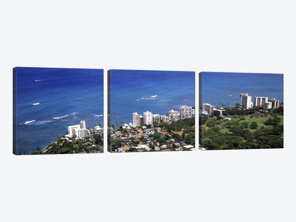 Aerial view of a city at waterfront, Honolulu, Oahu, Honolulu County, Hawaii, USA 2010 by Panoramic Images 3-piece Art Print