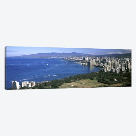 High angle view of a city at waterfront, Honolulu, Oahu, Honolulu County, Hawaii, USA 2010 Canvas Print #PIM9191} by Panoramic Images Canvas Wall Art