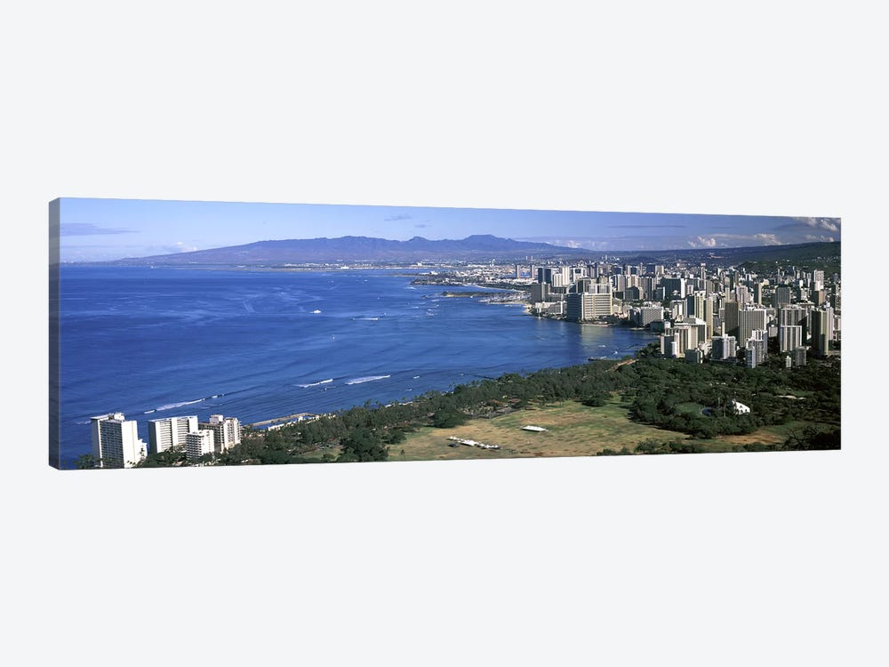 High angle view of a city at waterfront, Honolulu, Oahu, Honolulu County, Hawaii, USA 2010 by Panoramic Images 1-piece Canvas Artwork