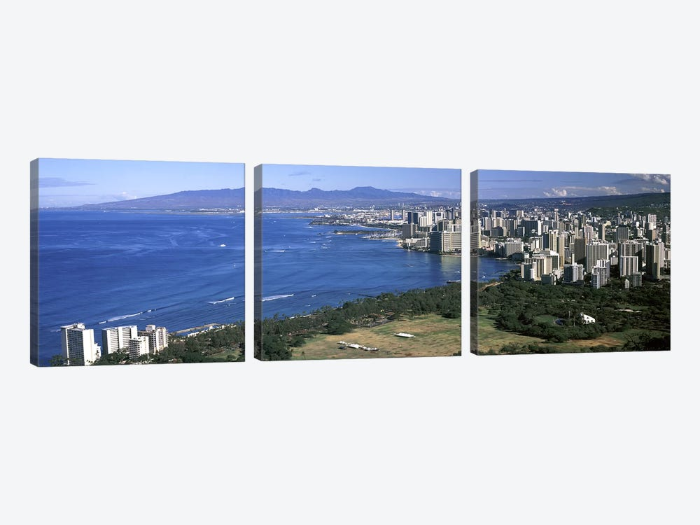 High angle view of a city at waterfront, Honolulu, Oahu, Honolulu County, Hawaii, USA 2010 by Panoramic Images 3-piece Canvas Art