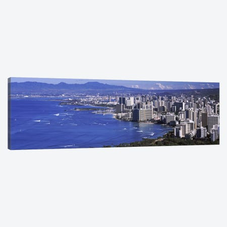 High angle view of a city at waterfront, Honolulu, Oahu, Honolulu County, Hawaii, USA 2010 #2 Canvas Print #PIM9192} by Panoramic Images Canvas Wall Art