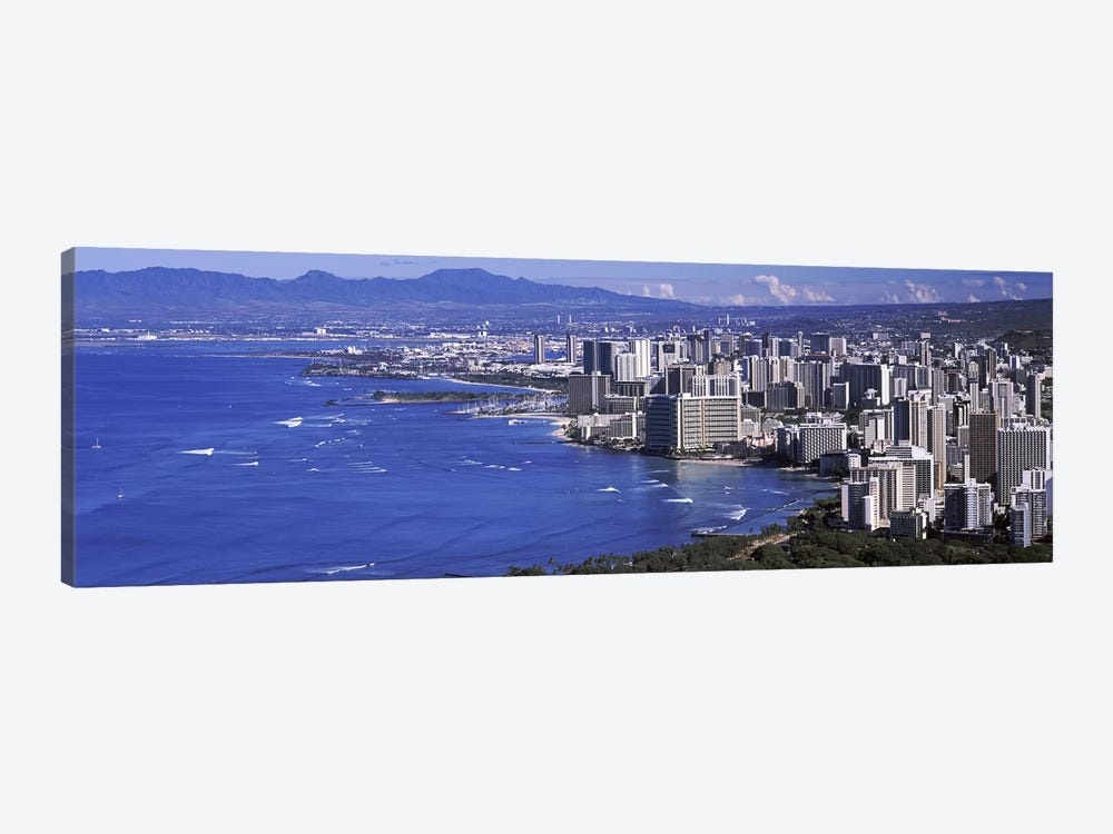 High angle view of a city at waterfront, Honolulu, Oahu, Honolulu County, Hawaii, USA 2010 #2 by Panoramic Images 1-piece Art Print