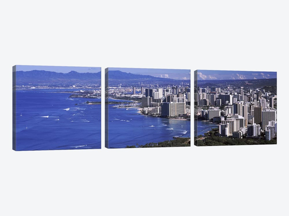 High angle view of a city at waterfront, Honolulu, Oahu, Honolulu County, Hawaii, USA 2010 #2 by Panoramic Images 3-piece Canvas Print