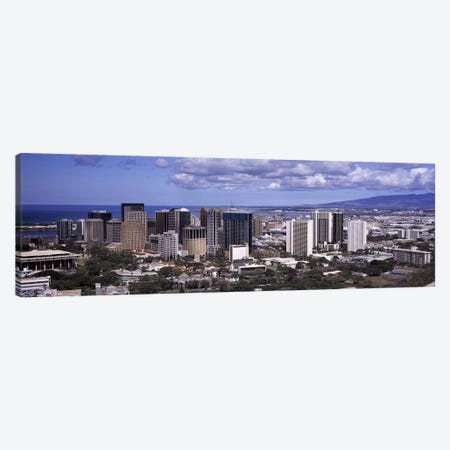High angle view of a city, Honolulu, Oahu, Honolulu County, Hawaii, USA 2010 Canvas Print #PIM9193} by Panoramic Images Canvas Wall Art