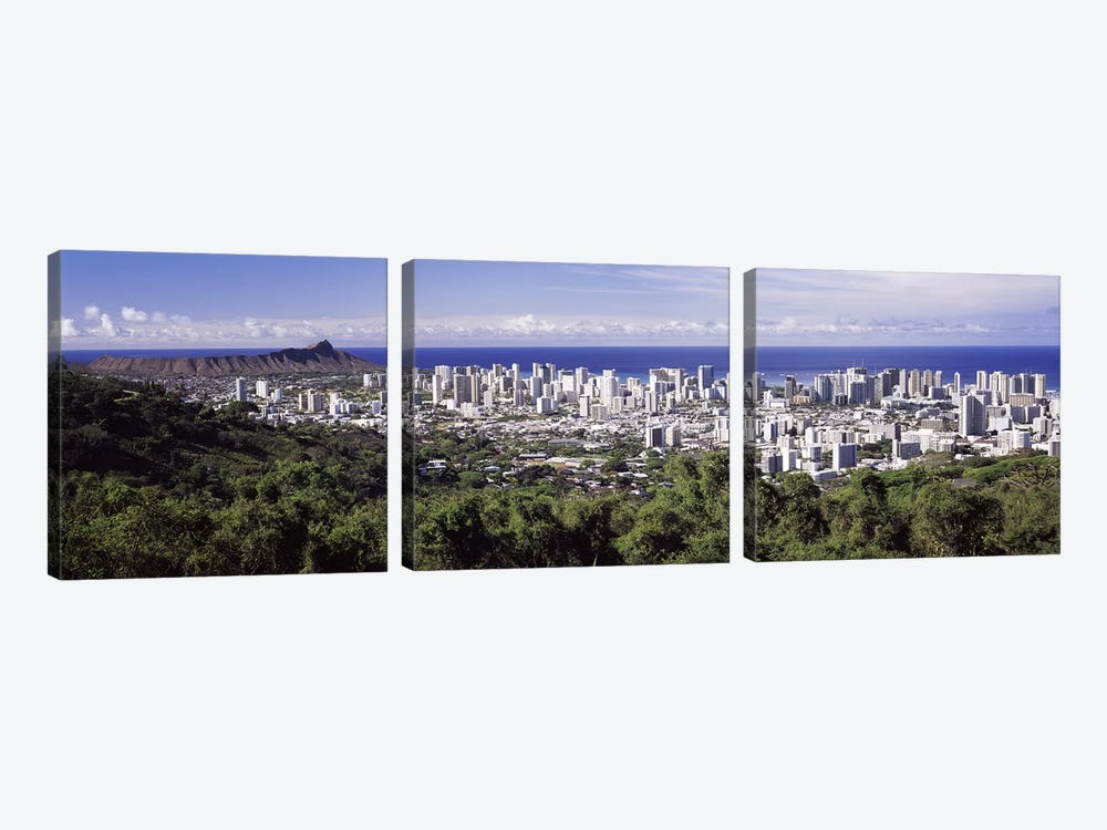 High angle view of a city, Honolulu, Oahu, Honolulu County, Hawaii, USA 2010 #4 by Panoramic Images 3-piece Art Print