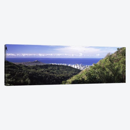 Mountains with city at coast in the backgroundHonolulu, Oahu, Honolulu County, Hawaii, USA Canvas Print #PIM9197} by Panoramic Images Art Print