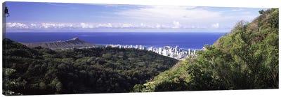 Mountains with city at coast in the backgroundHonolulu, Oahu, Honolulu County, Hawaii, USA Canvas Print #PIM9197