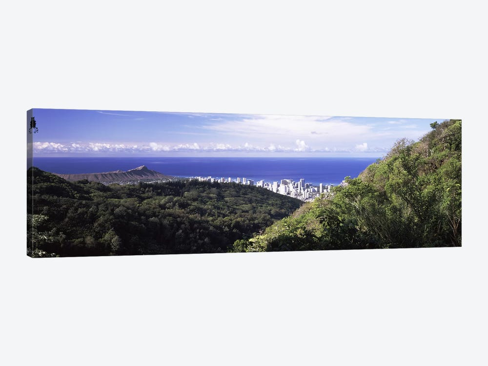 Mountains with city at coast in the backgroundHonolulu, Oahu, Honolulu County, Hawaii, USA by Panoramic Images 1-piece Canvas Artwork
