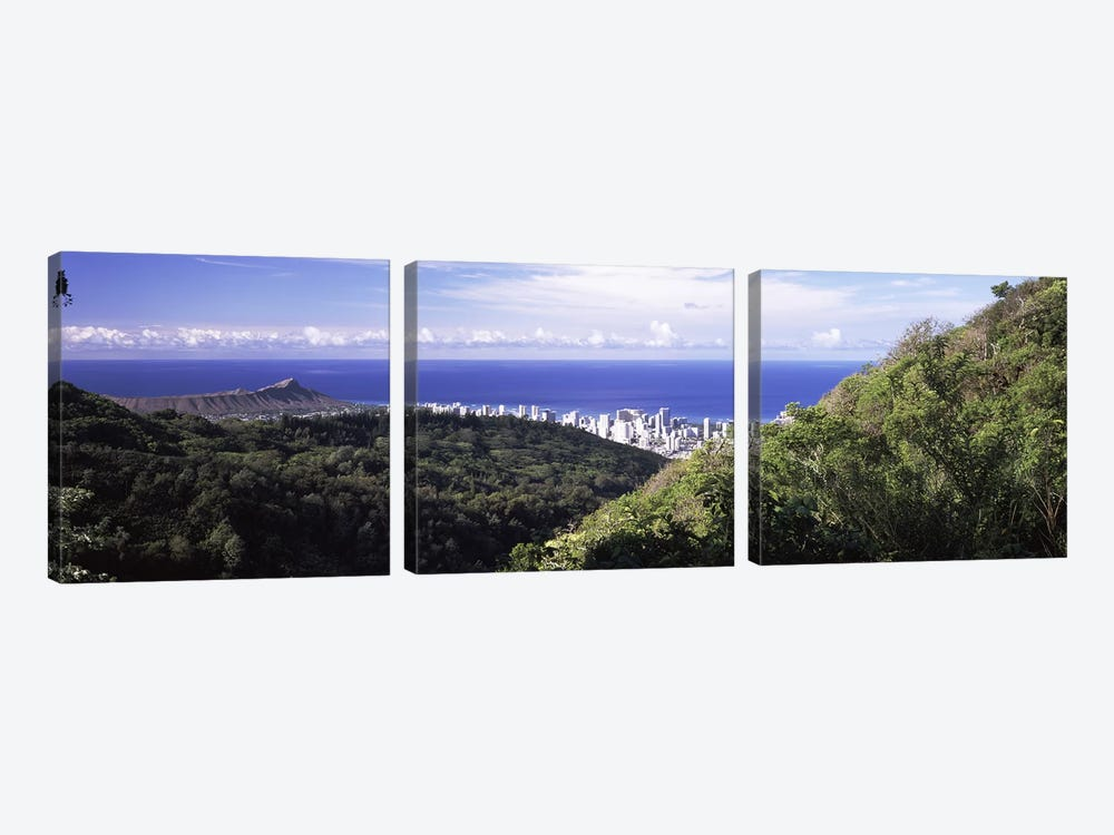 Mountains with city at coast in the backgroundHonolulu, Oahu, Honolulu County, Hawaii, USA by Panoramic Images 3-piece Canvas Wall Art