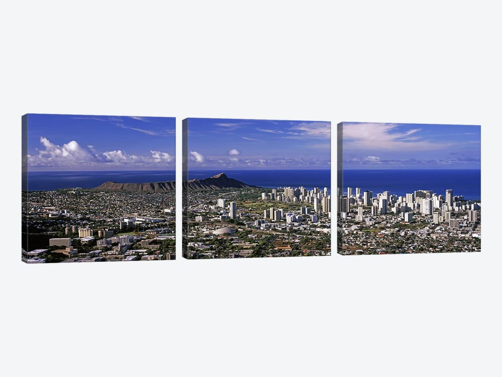 High angle view of a city, Honolulu, Oahu, Honolulu County, Hawaii, USA 2010 #6 by Panoramic Images 3-piece Canvas Artwork