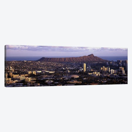 High angle view of a cityHonolulu, Oahu, Honolulu County, Hawaii, USA Canvas Print #PIM9202} by Panoramic Images Canvas Wall Art