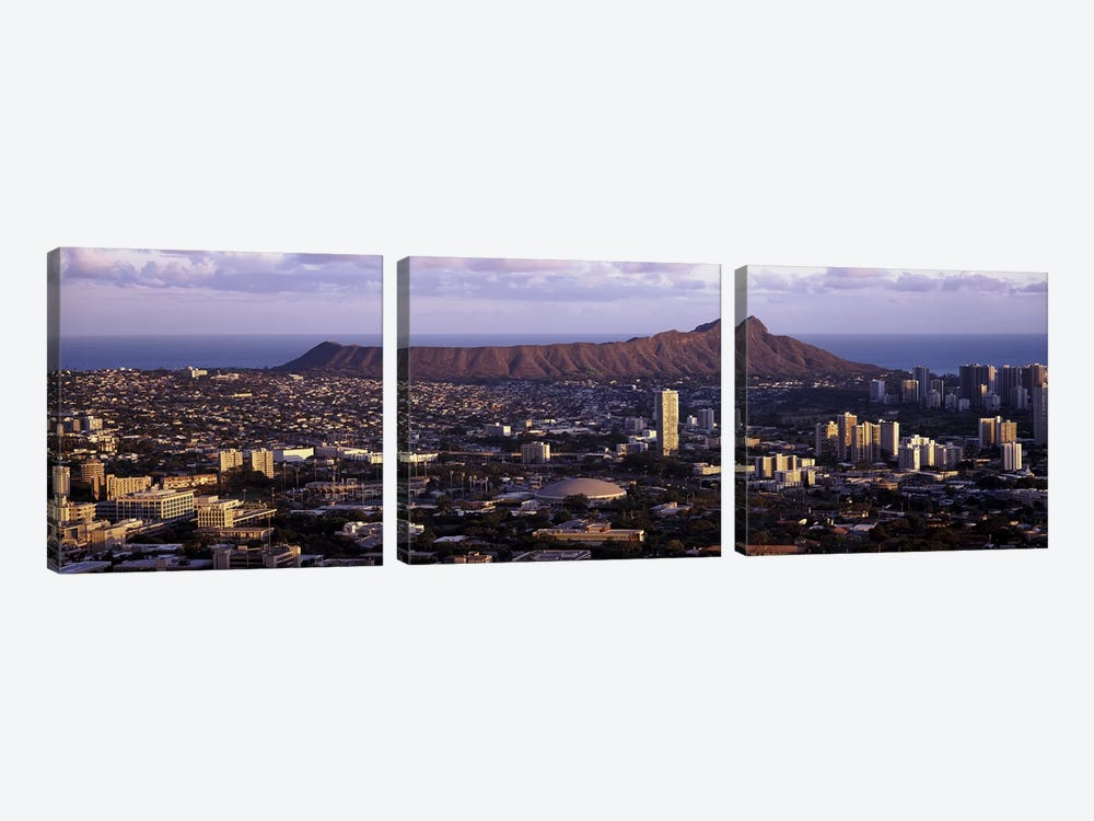 High angle view of a cityHonolulu, Oahu, Honolulu County, Hawaii, USA by Panoramic Images 3-piece Canvas Wall Art