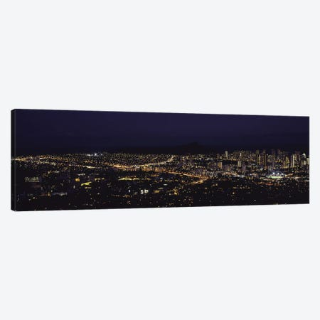Aerial view of a city lit up at night, Honolulu, Oahu, Honolulu County, Hawaii, USA 2010 Canvas Print #PIM9203} by Panoramic Images Canvas Artwork