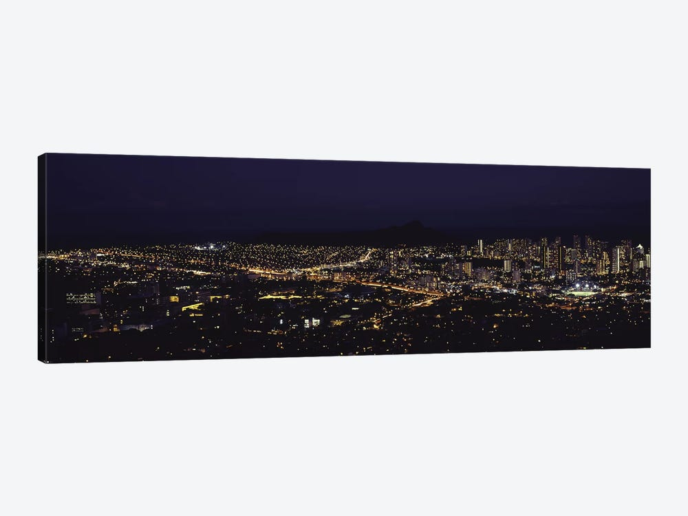 Aerial view of a city lit up at night, Honolulu, Oahu, Honolulu County, Hawaii, USA 2010 by Panoramic Images 1-piece Art Print