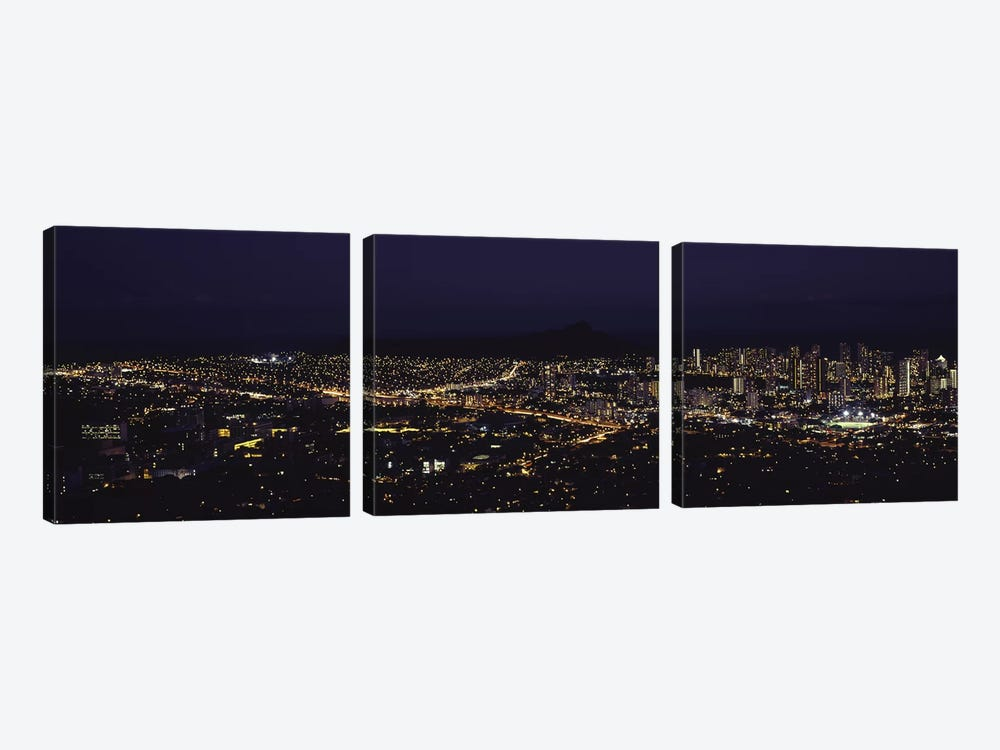 Aerial view of a city lit up at night, Honolulu, Oahu, Honolulu County, Hawaii, USA 2010 by Panoramic Images 3-piece Art Print