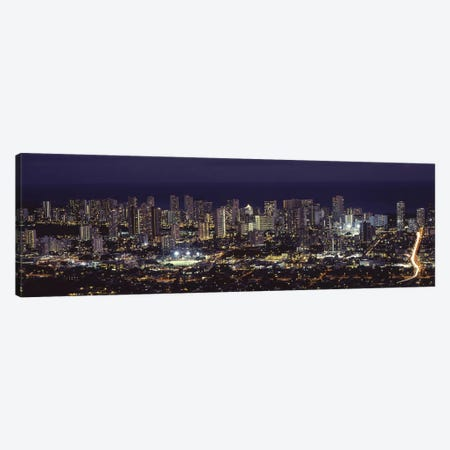 High angle view of a city lit up at night, Honolulu, Oahu, Honolulu County, Hawaii, USA 2010 Canvas Print #PIM9204} by Panoramic Images Canvas Art Print