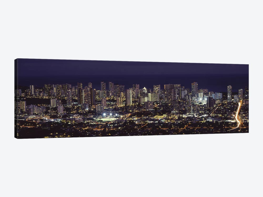 High angle view of a city lit up at night, Honolulu, Oahu, Honolulu County, Hawaii, USA 2010 by Panoramic Images 1-piece Canvas Artwork