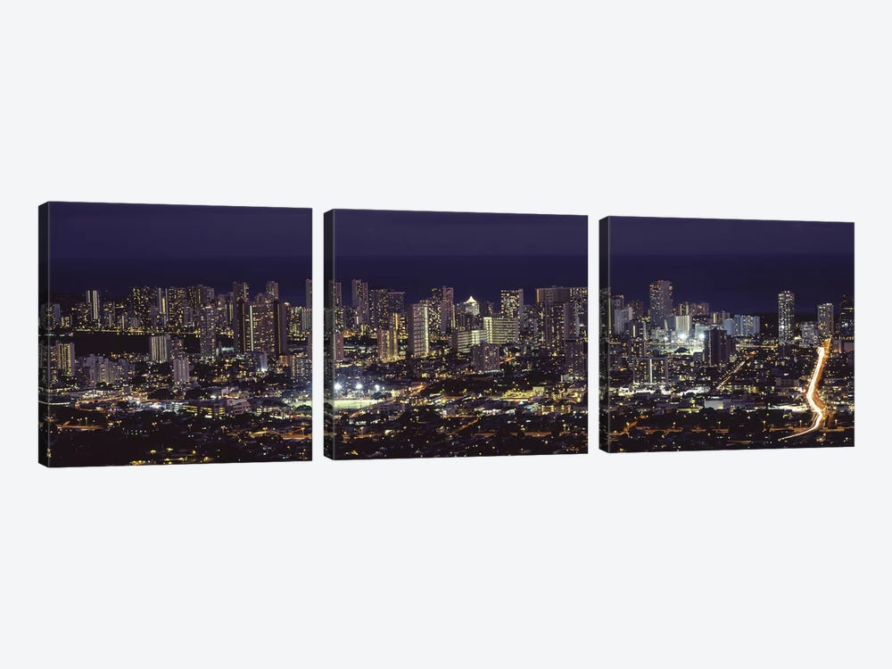 High angle view of a city lit up at night, Honolulu, Oahu, Honolulu County, Hawaii, USA 2010 by Panoramic Images 3-piece Canvas Wall Art