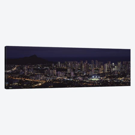 High angle view of a city lit up at night, Honolulu, Oahu, Honolulu County, Hawaii, USA Canvas Print #PIM9205} by Panoramic Images Art Print
