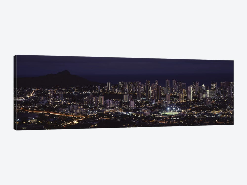 High angle view of a city lit up at night, Honolulu, Oahu, Honolulu County, Hawaii, USA by Panoramic Images 1-piece Art Print