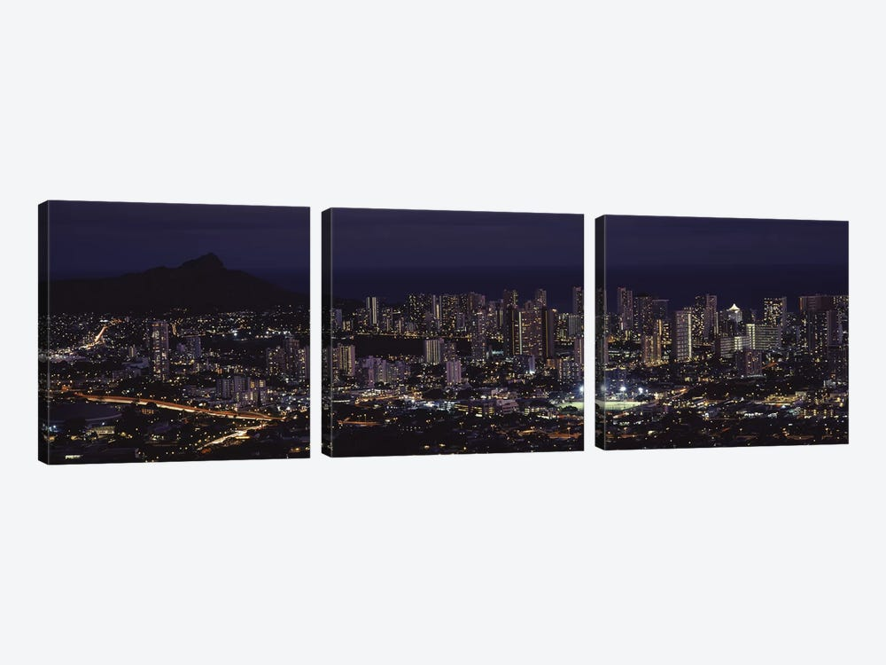 High angle view of a city lit up at night, Honolulu, Oahu, Honolulu County, Hawaii, USA by Panoramic Images 3-piece Art Print