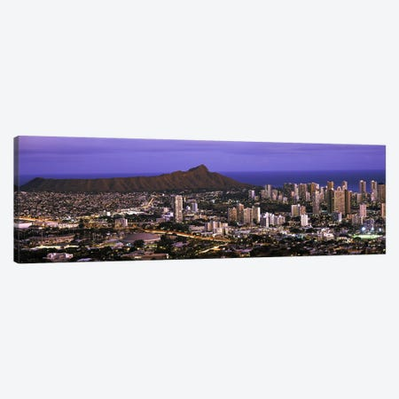 High angle view of a city lit up at dusk, Honolulu, Oahu, Honolulu County, Hawaii, USA 2010 Canvas Print #PIM9206} by Panoramic Images Art Print