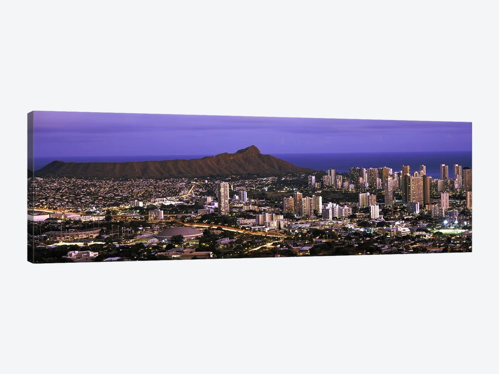 High angle view of a city lit up at dusk, Honolulu, Oahu, Honolulu County, Hawaii, USA 2010 by Panoramic Images 1-piece Canvas Art