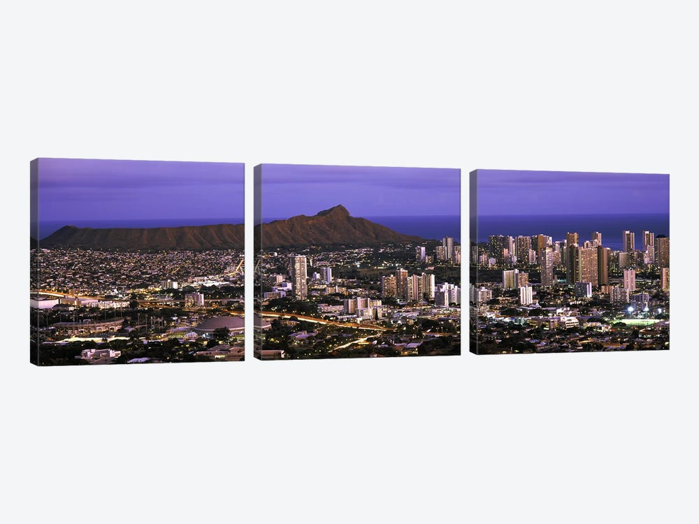 High angle view of a city lit up at dusk, Honolulu, Oahu, Honolulu County, Hawaii, USA 2010 by Panoramic Images 3-piece Canvas Artwork