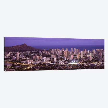 High angle view of a city lit up at duskHonolulu, Oahu, Honolulu County, Hawaii, USA Canvas Print #PIM9207} by Panoramic Images Art Print