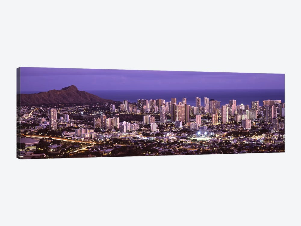 High angle view of a city lit up at duskHonolulu, Oahu, Honolulu County, Hawaii, USA by Panoramic Images 1-piece Canvas Art Print