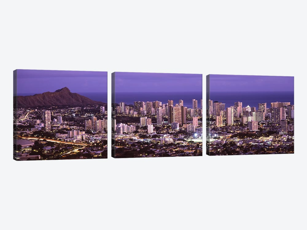 High angle view of a city lit up at duskHonolulu, Oahu, Honolulu County, Hawaii, USA by Panoramic Images 3-piece Canvas Art Print