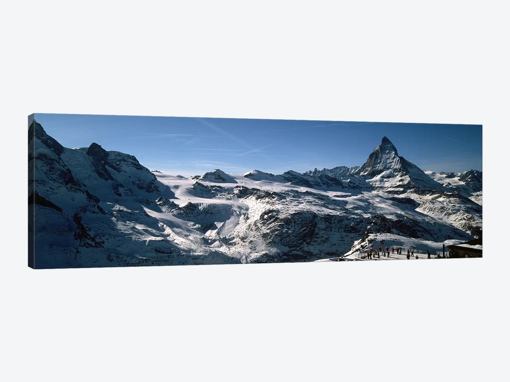 Skiers on mountains in winter, Matterhorn, Switzerland by Panoramic Images 1-piece Art Print