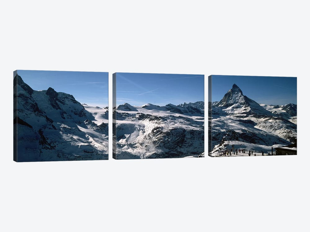 Skiers on mountains in winter, Matterhorn, Switzerland by Panoramic Images 3-piece Art Print