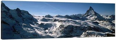 Skiers on mountains in winter, Matterhorn, Switzerland Canvas Art Print