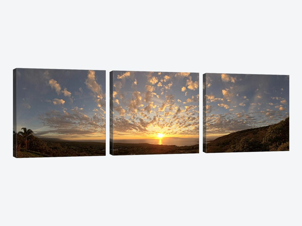 Sunset over the Pacific ocean, Kealakekua Bay, Kona Coast, Kona, Hawaii, USA by Panoramic Images 3-piece Canvas Art