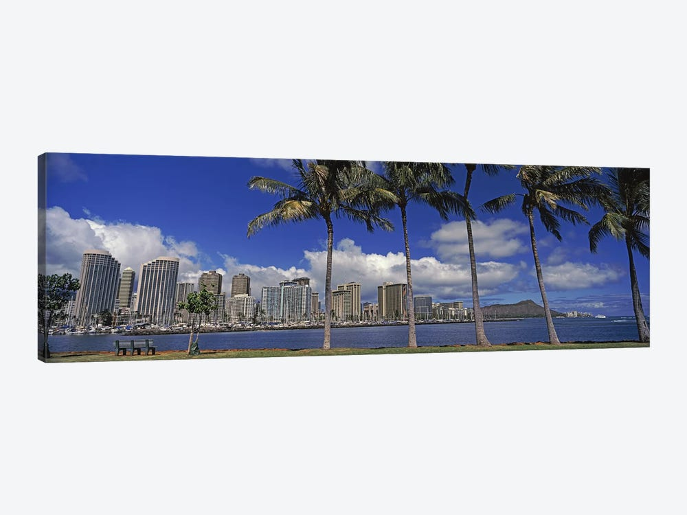 Skyscrapers at the waterfront, Honolulu, Hawaii, USA 2010 by Panoramic Images 1-piece Canvas Print