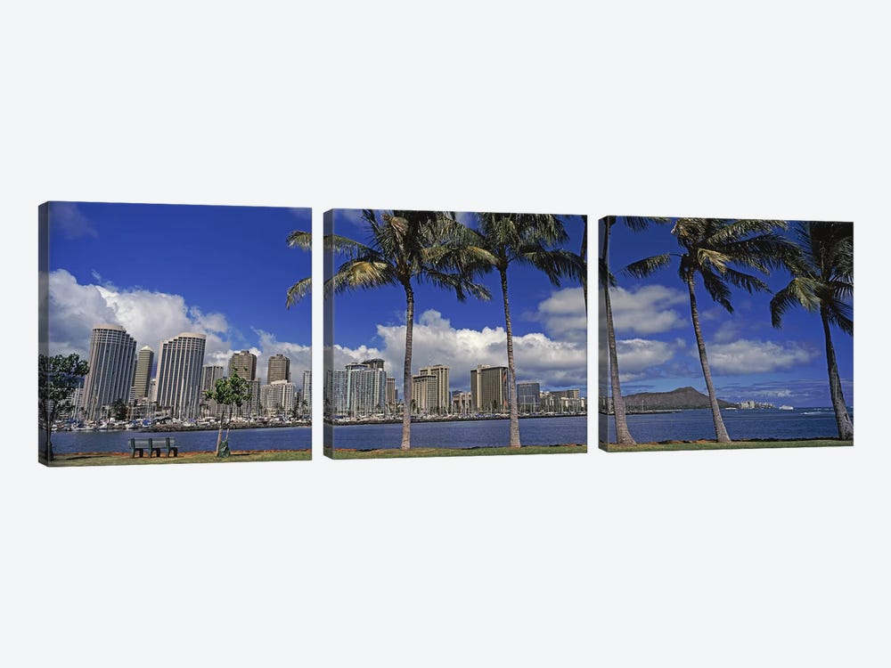 Skyscrapers at the waterfront, Honolulu, Hawaii, USA 2010 by Panoramic Images 3-piece Art Print