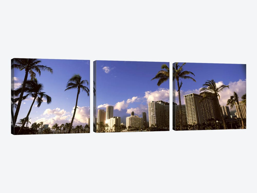 Low angle view of skyscrapers, Honolulu, Hawaii, USA 2010 by Panoramic Images 3-piece Canvas Art