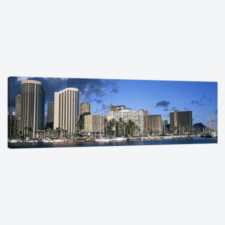 Boats docked at a harbor, Honolulu, Hawaii, USA 2010 Canvas Print #PIM9216} by Panoramic Images Canvas Wall Art