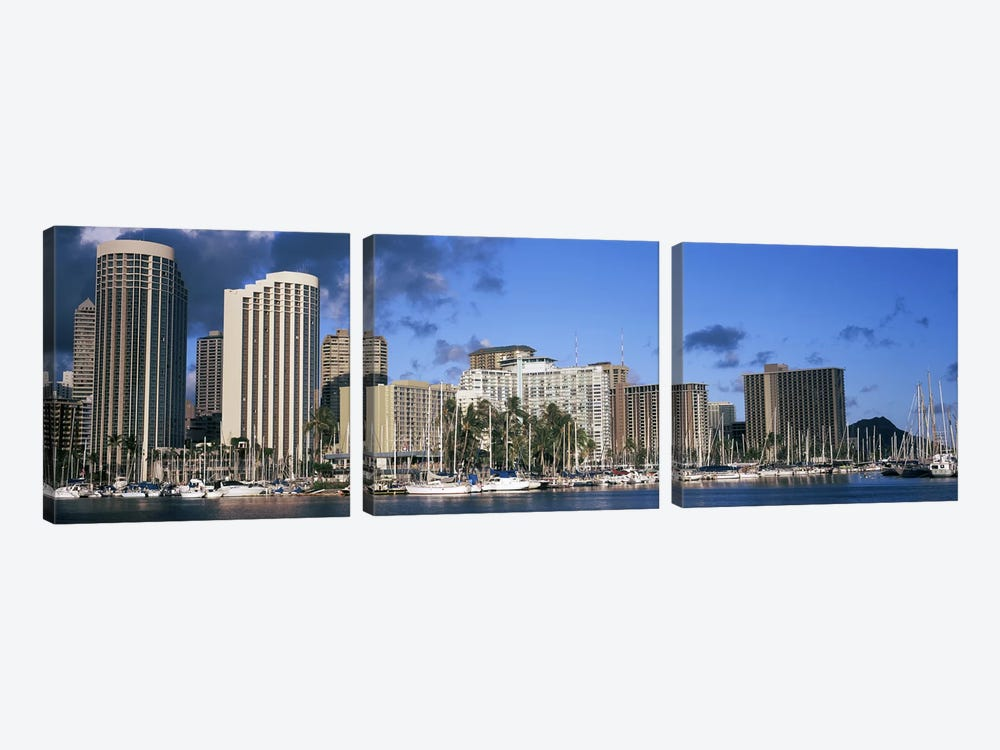 Boats docked at a harbor, Honolulu, Hawaii, USA 2010 by Panoramic Images 3-piece Canvas Print