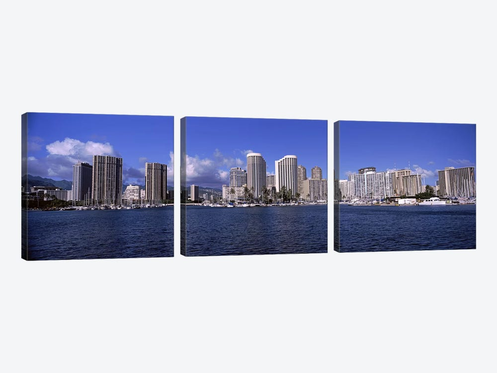 Skyscrapers at the waterfront, Honolulu, Hawaii, USA 2010 #2 3-piece Canvas Print