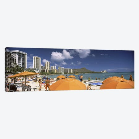 Tourists on the beach, Waikiki Beach, Honolulu, Oahu, Hawaii, USA 2010 Canvas Print #PIM9219} by Panoramic Images Canvas Print