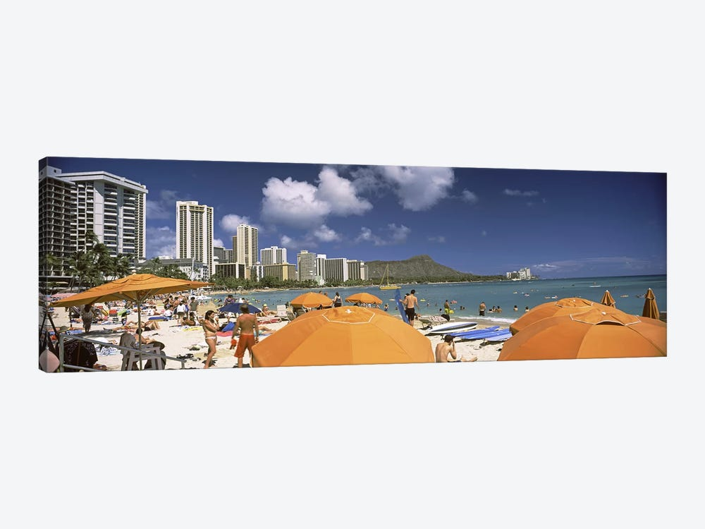 Tourists on the beach, Waikiki Beach, Honolulu, Oahu, Hawaii, USA 2010 by Panoramic Images 1-piece Canvas Art