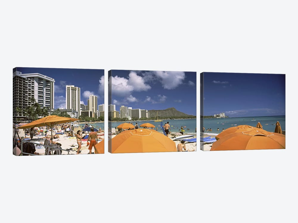Tourists on the beach, Waikiki Beach, Honolulu, Oahu, Hawaii, USA 2010 by Panoramic Images 3-piece Canvas Art