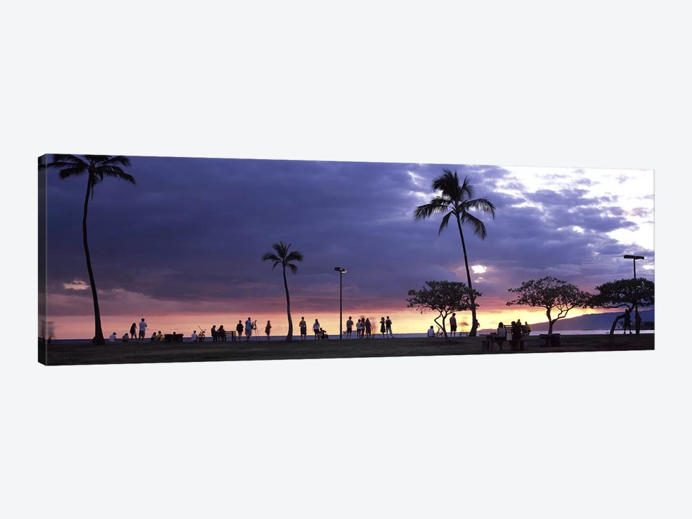 Tourists on the beach, Honolulu, Oahu, Hawaii, USA by Panoramic Images 1-piece Canvas Artwork