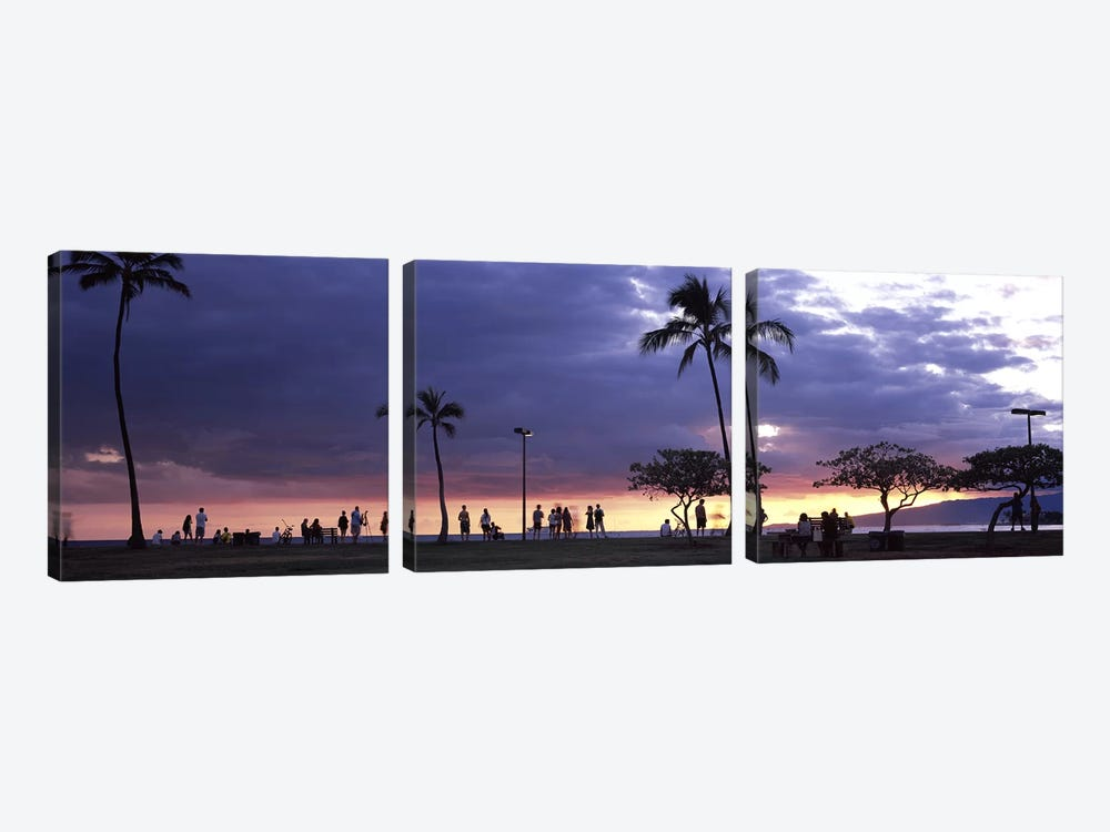 Tourists on the beach, Honolulu, Oahu, Hawaii, USA by Panoramic Images 3-piece Canvas Artwork