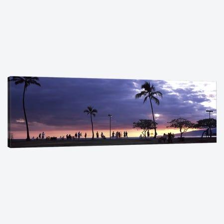 Tourists on the beach, Honolulu, Oahu, Hawaii, USA Canvas Print #PIM9224} by Panoramic Images Canvas Art Print