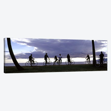Tourists cycling on the beach, Honolulu, Oahu, Hawaii, USA Canvas Print #PIM9225} by Panoramic Images Art Print